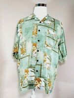 Bermuda Bay 100% Silk Mens XL Shirt Green Hawaiian Shirt Tropical Beach Vacation