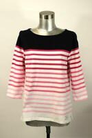 TALBOTS Ombre Stripe Tee Shirt Top 3/4 Sleeve T-Shirt Cotton Modern M PETITE PM