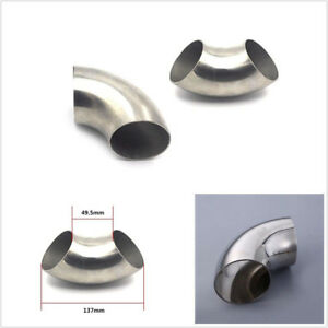 "Universal 201 Stainless Steel 2.5"" 63mm Car 90 Degree Bend Elbow Pipe Fitting"