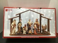 Nativity Set 12 Piece Porcelain with Wood Creche JCPenney Home Collection Manger
