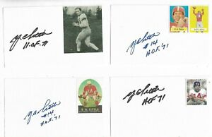 (1) Y.A. Tittle Signed 3x5 Index Card New York Giants Football HOF