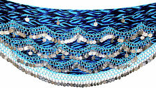 Turchese SIL VELVET belly dance hip sciarpa Coin & Perline Cintura Wrap UK Taglie Forti
