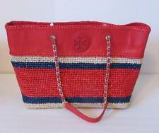 Tory Burch Marion crochet straw tote Ruby Jewel red navy bag chain east west