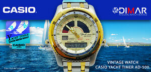 Vintage Casio Marine SPORTS AD-500G-7GV. QW-389. Japan. WR.328 1/12ft Nos.