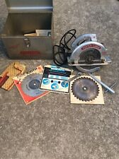 """New listing Vintage Porter Cable Model 108 8"""" Circular Saw W/ Case & Extras Tested Works"""
