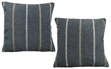 Pack of 2 Chenille Stripe Design Charcoal Black, Beige, White Cushion Covers