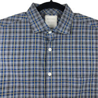 Billy Reid Mens Standard Cut Blue Plaid Long Sleeve Button Shirt Size Medium