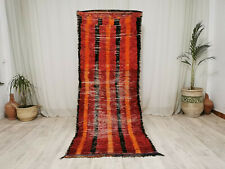"Handmade Azilal Moroccan Vintage Runner 3'2""x8'3""  Striped Red Berber Wool Rug"