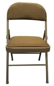 Steel Frame Folding Chair with Brown Fabric Seat