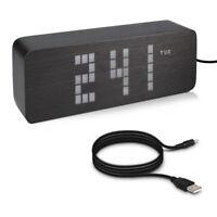 Retro LED Digitalwecker Holzoptik 3 Alarm Weckzeiten Temperatur Tagesanzeige