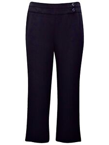 Evans Black Pull on Trousers Plus Size 16 18 20 26 straight wide leg [456]