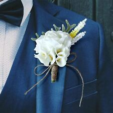 Artificial Flower Corsage Groomsman Brooch Wedding Party Bridal Groom Calla Lily