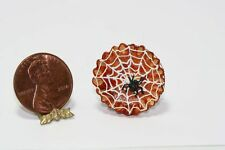 Dollhouse Miniature Halloween Black Spider Web Pie by Bright Delights