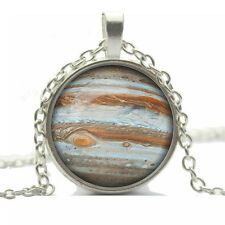 Vintage Style Glass Pendant White & Brown Sphere Levels Imitation Necklace N454
