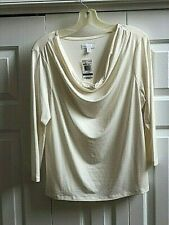 Charter Club draped-neck light-weight pullover, size XL, NWT, ivory color