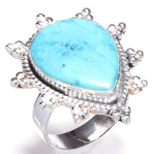 Turquoises Gemstone Handmade 925 Sterling Silver Jewelry Ring Size 7.5 1062