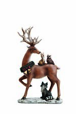 Standing Reindeer with Woodland Animals Resin Christmas Tabletop Figurine