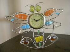 Whimsical Dragonfly Clock Mantle Shelf silver tone metal quartz movement NEW