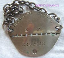 PID100 - PLAQUE IDENTITE DOG TAG MARINE - CHERBOURG - Engagé Volontaire 1928