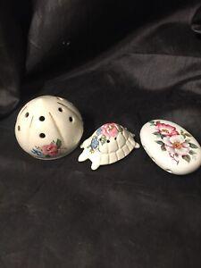 3 X Vintage China  Pomanders  Retro Kitsch All Flowers Tortoise Etc