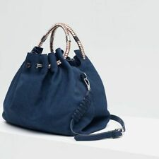 ZARA LEATHER BUCKET BAG WITH HANDLE DETAIL Blue Satchel Braided Strap Purse Tote