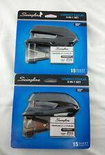 Swingline Compact Stapler 3-in-1 Bonus Pack LOT of 2 Black 15 Sheet Capacity NEW
