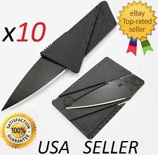 10 x Credit Card Knives Lot, folding, wallet thin, pocket survival micro knife !