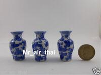3pc Miniatures Antique Vintage Vase Furniture Chinese Dollhouse Jar Pot Lot Doll