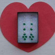 Handmade Emerald Drop/Dangle Sterling Silver Fine Earrings
