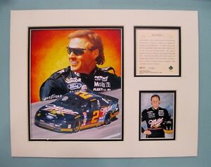 1996 Rusty Wallace #2 Nascar 11x14 MATTED Kelly Russell Lithograph Print