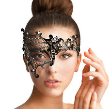 Black VENETIAN Lace Metal MASK | Masquerade Half-face Clear Diamante Fancy Dress