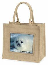 Snow Seal 'Yours Forever' Large Natural Jute Shopping Bag Christmas G, AF-S14BLN