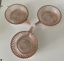 """3 Anchor Hocking QUEEN MARY PINK  4"""" HANDLED BOWLS"""