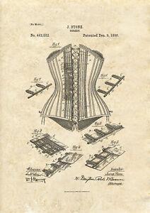 Corset Design Patent art print 1890  A4 / A5 historic fashion clothing wall art