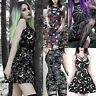 Fashion Gothic Women Moon Spiderweb Floral Dress Halloween Party Cosplay Costume