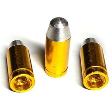 3 Gold Billet Bullet Tire Air Valve Stem Dust Caps Trike ATV Bike Wheels