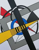 Tableau abstrait géométrique 40 x 50 cm. Œuvre originale de Audrey Granjeaud.