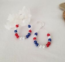 Patriotic Red White And Blue Sterling Silver Earrings With Czech Beads