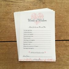 Words of Wisdom - 10 Pack Wedding/Marriage Advice Cards - Pink Heart Design