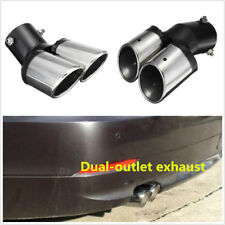 1PCS Car SUV Truck 63mm Curved Dual Exhaust Tail Tip Pipe Trim Tips Muffler Pipe