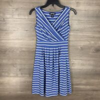 Lands' End Women's Size XXSP Petite 00-0 Sleeveless Knit Dress Striped Blue