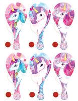 6 Unicorn Paddle Bats - Pinata Toy Loot/Party Bag Fillers Wedding/Kids Girl Pink