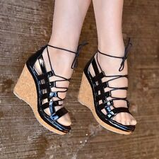 Ladies High Heel Lace Up Wedges Sandals Womens Platform Cut Out Caged Shoes Size
