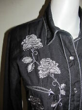 Panhandle Slim Western Shirt Snap Front Size M Dark Gray Embroidered Roses Rodeo