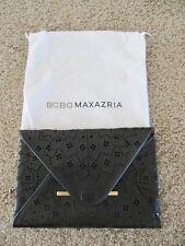 BCBG Max Azria Harlow Lazer Cut Black / Tan Evening Clutch Purse Bag +Dust Bag