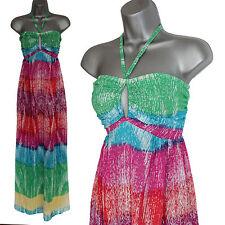 MONSOON Pink Green Blue Print Hole Neck Halterneck Summer Beach Maxi Dress M