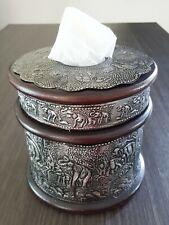 Wooden Round Tissue Box Cover Lucky Elephant Thailand Handmade Teak Wood Vintage