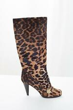 MULBERRY Womens Leopard Pony Hair Knee-High Buckle High Heel Pump Boots 8-38 NEW