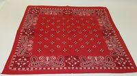 Vintage TOWER Red Paisley Cotton Color Fast Biker Big Handkerchief Bandana