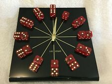 Las Vegas Dice Clock with Black Face and Red Dice